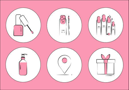 Set of flat icons of accessories for nail care manicure. nail polish, nail art. Vector illustration