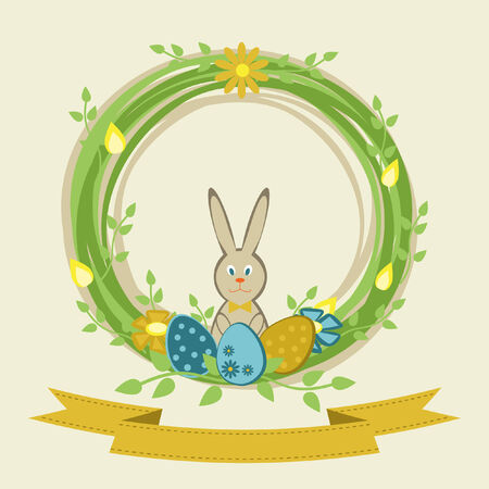 Easter wreath with flowers, eggs and bunny  Vector