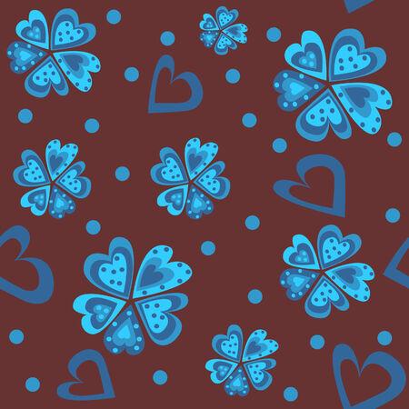 corazones azules: Flor del modelo de los corazones azules (textura incons�til) Vectores
