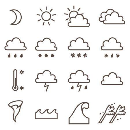 Weather linear icons set. Cloud sun precipitation