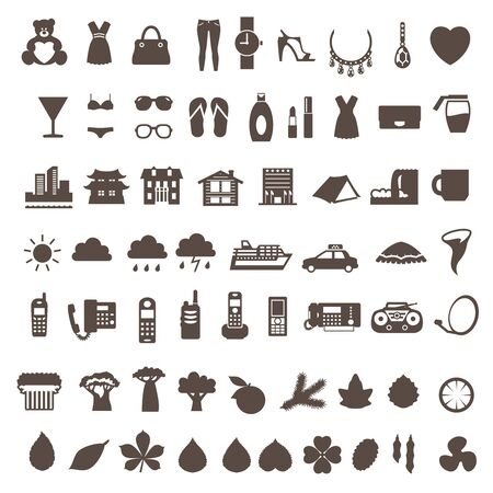 Big set of different icon vector silhouette