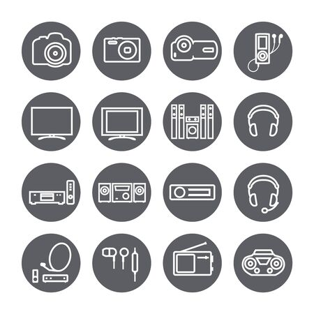 bluetooth headset: audio video tv equipment circle linear icon Illustration