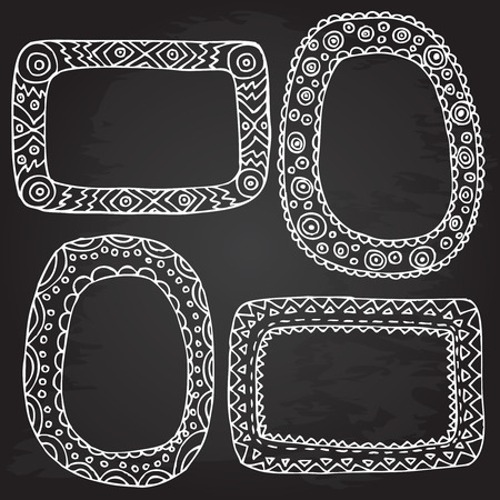 Rough outline set picture frames hand drawn banners chalkboard. Openwork tags