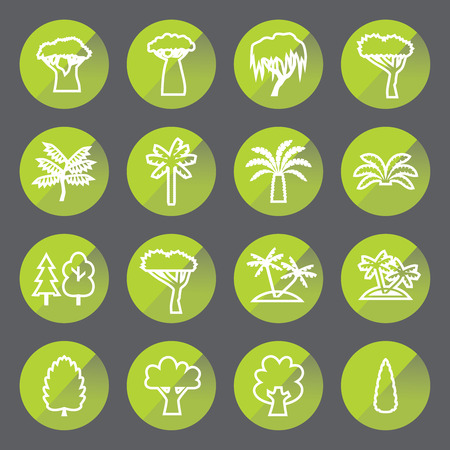 Trees linear icon set. Silhouette in circle.