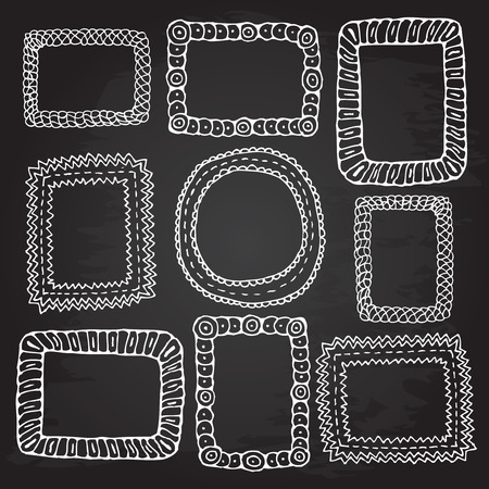 Rough outline set picture frames hand drawn banners chalkboard. Openwork tags. Ilustracja