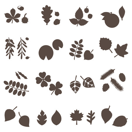 silhouette leaves vector set