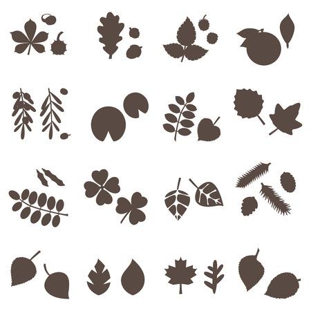 silhouette leaves vector set