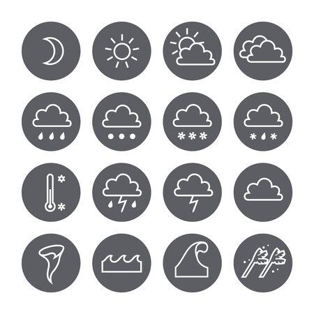 precipitación: Iconos del tiempo lineal círculo establecen. Nube sol precipitaciones