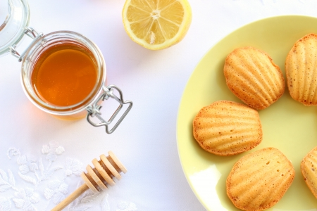 madeleine: Madeleine biscuit cookies with honey Stock Photo