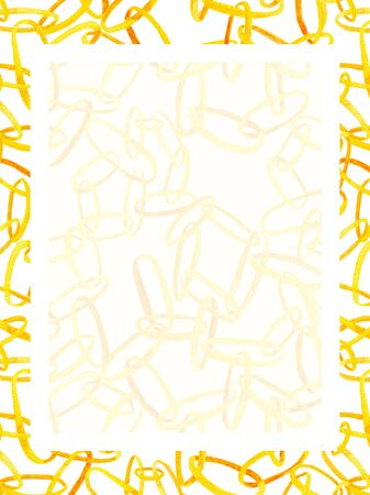 Watercolor interlocking chains rectangle frame. Hand drawn illustration with golden rings with place for text 写真素材
