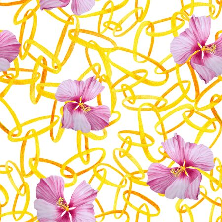 Watercolor interlocking chains and flowers seamless pattern. Hand drawn illustration with golden rings on white background