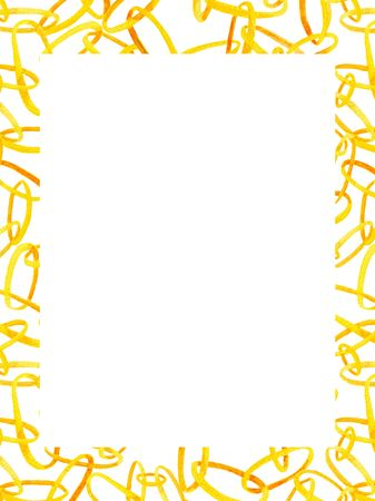 Watercolor interlocking chains rectangle frame. Hand drawn illustration with golden rings with place for text on white background 写真素材
