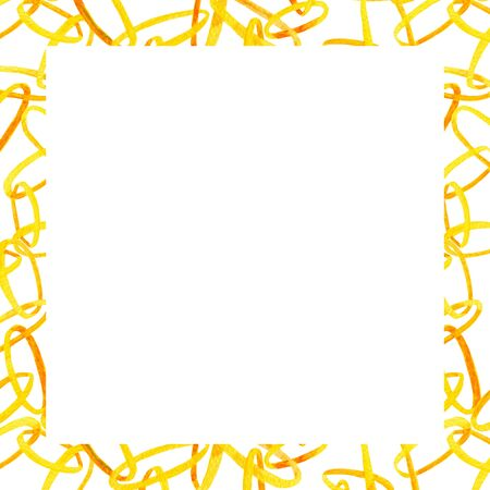 Watercolor interlocking chains square frame. Hand drawn illustration with golden rings with place for text on white background