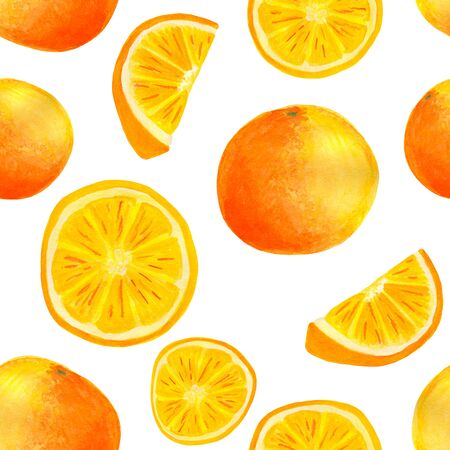 Watercolor orange fruit seamless pattern. Hand painted citrus slices isolated on white background for food packaging, wrapping, covers, textile Stok Fotoğraf - 129779195