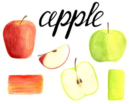 Watercolor apples set with lettering calligraphy isolated on white background. Hand drawn red and green fruits, sliced and half for packaging, menu design, scrapbooking, cards, food wrapping