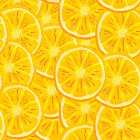 Watercolor orange fruit seamless pattern. Hand painted citrus slices background for food packaging, wrapping, covers, textile design