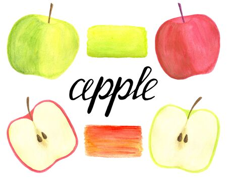 Watercolor apples set with lettering calligraphy and brush smear isolated on white background. Hand drawn red and green fruits, sliced and half for packaging, menu design, scrapbook, cards, wrapping