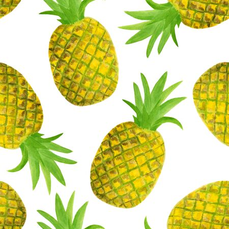 Watercolor pineapple seamless pattern. Hand drawn tropical fruits illustration isolated on white background. Design for textile, menu, cards, scrapbooking, food packaging, wrapping. Reklamní fotografie