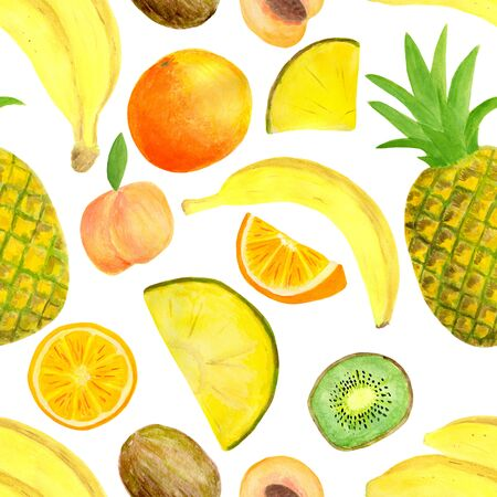 Watercolor exotic tropical fruits seamless pattern. Hand drawn banana, pineapple, kiwi slice, peach, orange isolated on white background for food package design, textile, print, cover, wrapping, cards.