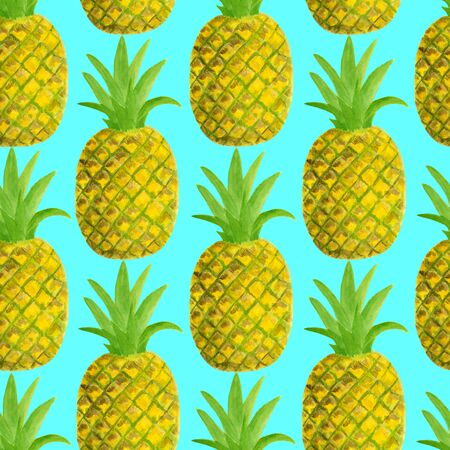 Watercolor pineapple seamless pattern. Hand drawn tropical fruits illustration isolated on blue background. Design for textile, menu, cards, scrapbooking, food packaging, wrapping.