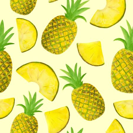 Seamless watercolor pattern with pineapple isolated on pastel yellow background. Hand drawn fruits and slices for food packaging design, wrapping, textile, decor, menu, scrapbooking.