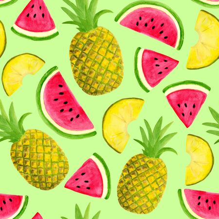 Seamless watercolor pattern with watermelon and pineapple isolated on pastel green background. Hand drawn fruits and slices for food packaging design, wrapping, textile, decor, scrapbooking. Reklamní fotografie