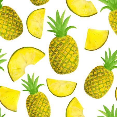 Seamless watercolor pattern with pineapple isolated on white background. Hand drawn fruits and slices for food packaging design, wrapping, textile, decor, scrapbooking.