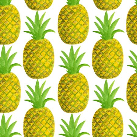 Watercolor pineapple seamless pattern. Hand drawn tropical fruits illustration isolated on white background. Design for textile, menu, cards, scrapbooking, food packaging, wrapping Reklamní fotografie