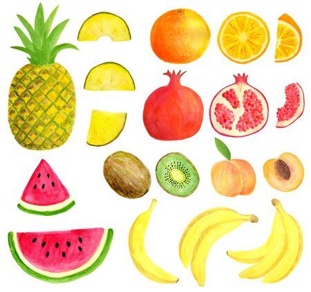 Watercolor tropical fruit set isolated on white background. Decoration elements for invitation design, menu, food package, scrapbook. Pineapple, banana, pomegranate, orange, kiwi, watermelon, peach Reklamní fotografie