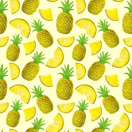 Seamless watercolor pattern with pineapple isolated on pastel yellow background. Hand drawn fruits and slices for food packaging design, wrapping, textile, decor, menu, scrapbooking Reklamní fotografie