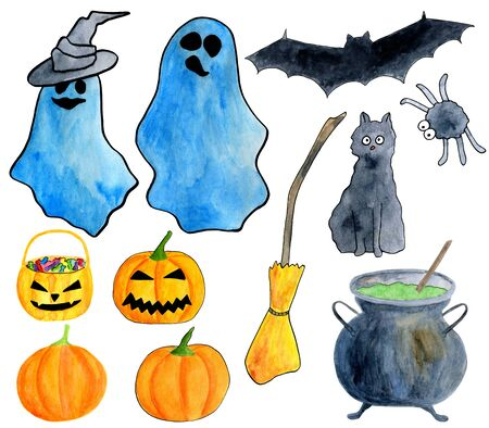 Hand drawn watercolor halloween set. Ghost, carved pumpkin, poison pot, broom, black cat, bat, spider, witch hat clip art isolated on white background for holiday design, party invitations and banners Фото со стока