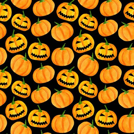 Watercolor halloween pumpkin seamless pattern. Hand drawn jack-o-lantern face illustration. Scary background design for wrapping paper, party invitations, banners on black backdrop