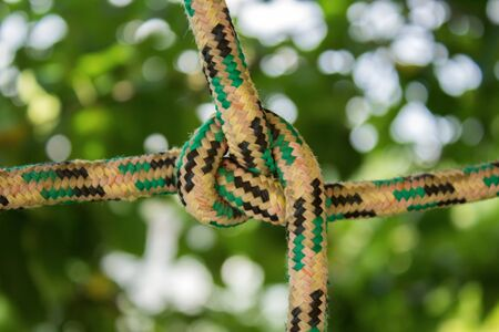 Colored ropes tied in a knot on a natural green blurred background Фото со стока