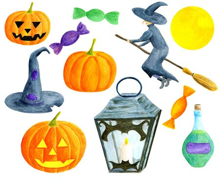 Watercolor Halloween set. Hand painted pumpkins with curved faces, witch on broomstick, bottle of poison, lantern with candle, magic hat, sweets isolated on white background for holiday design Reklamní fotografie