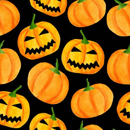 Watercolor halloween pumpkin seamless pattern. Hand drawn jack-o-lantern face illustration. Scary background design for wrapping paper, party invitations, banners on black 写真素材