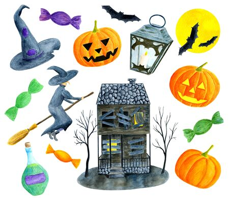 Watercolor Halloween set. Hand painted pumpkins with faces, witch, old house with boarded windows, full moon, bat, bottle of poison, lantern with candle, magic hat, sweets isolated on white background.