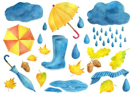 Watercolor autumn set. Decorative elements of season. Umbrella, clouds and rain, rubber boots, scarf, drops of water, yellow leaves, acorns, puddle. Hand drawn illusration isolated on white background.