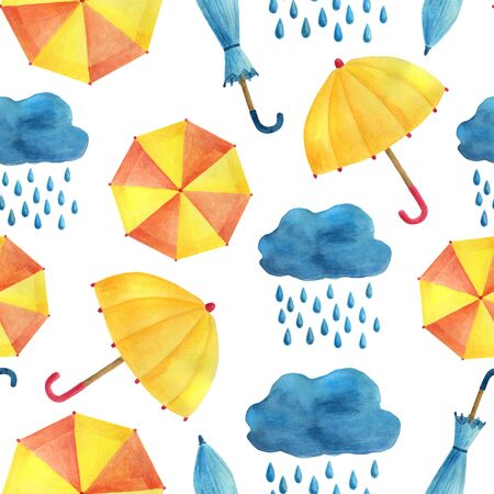 Watercolor seamless pattern with umbrellas, clouds and rain. Cute hand painted illustration on white background. Seasonal autumn spring decoration for children, textile, cards design, wrapping paper.