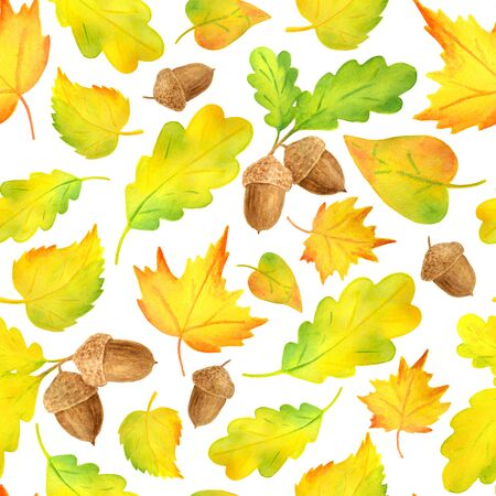 Watercolor colorful yellow autumn leaves seamless pattern. Hand drawn illustration with acorn, maple, alder, oak leaf on white background. Banco de Imagens
