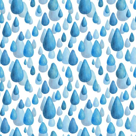 Watercolor rainy seamless pattern. Hand drawn water drops illustration on white background. Decoration for textile, wrapping paper, greeting cards, seasonal design. Stock fotó - 129778985