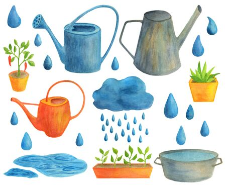 Watercolor garden tools set. Hand drawn seasonal spring summer autumn illustration on white background. Colorful and metal watering cans, pots with seedling plants, cloud with drops of rain water.