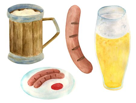 Watercolor Oktoberfest set. Wooden beer mug, glass of lager, grill sausages on plate. Hand drawn illustration for festival decoration, pub menu design Фото со стока - 129779419
