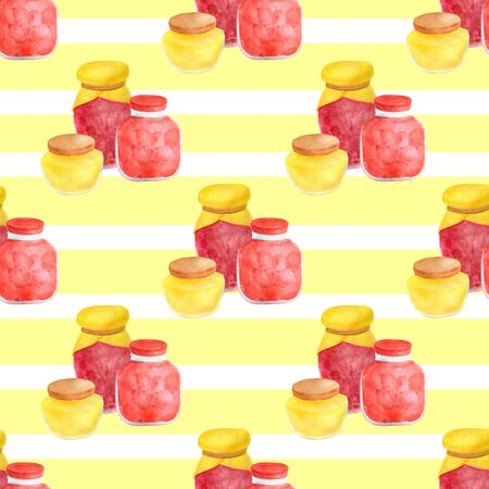 Watercolor glass jar of jam and sweet honey seamless pattern. Hand drawn vintage delicious preserves illustration on yellow background with white stripes. 스톡 콘텐츠