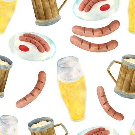 Watercolor wooden beer mugs, glass of lager, grill sausages on plate with ketchup seamless pattern. Hand drawn octoberfest concept. Illustration for festival decoration, pub menu design Фото со стока