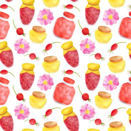 Watercolor glass jar of jam and sweet honey, rose hips and flowers seamless pattern. Hand drawn vintage delicious preserves illustration isolated on white background for design and decoration