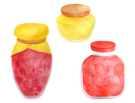 Watercolor glass jar of jam and sweet honey. Hand drawn vintage delicious preserves illustration isolated on white background. Painted elements for design and decoration Imagens