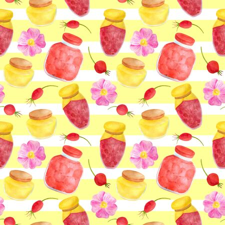 Watercolor glass jar of jam, sweet honey, rose hips and flowers seamless pattern. Hand drawn vintage delicious preserves illustration on yellow background with white stripes for design and decoration.