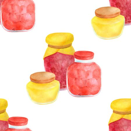 Watercolor glass jar of jam and sweet honey seamless pattern. Hand drawn vintage delicious preserves illustration isolated on white background. 스톡 콘텐츠