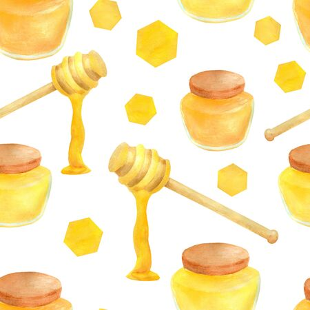 Watercolor apiculture seamless pattern. Hand drawn honey jar, dipper spoon and stick, honeycomb. Illustration isolated on white background for design, decoration, food packaging Imagens