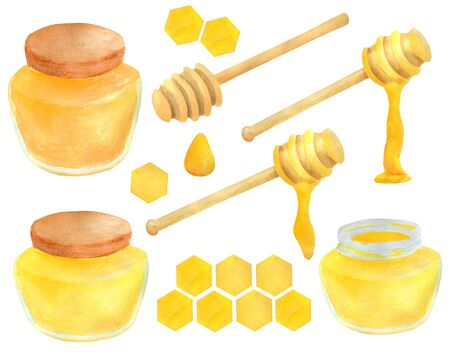 Watercolor apiculture set. Hand drawn honey jar, dipper spoon and stick, honeycomb. Illustration isolated on white background for design, decoration, food packaging Imagens